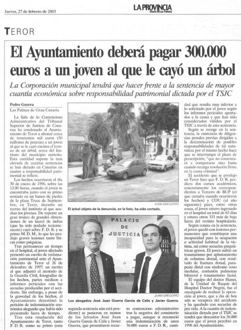 El Ayuntamiento deberá pagar 300.000 euros a un joven al que le cayó un árbol