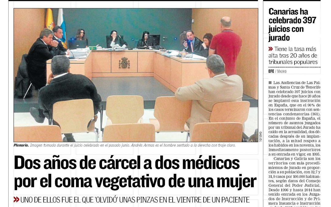 Dos años de cárcel a dos médicos por el coma vegetativo de una mujer