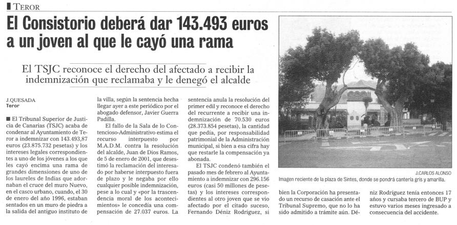 El Consistorio deberá dar 143,493 euros a un joven al le cayó una rama