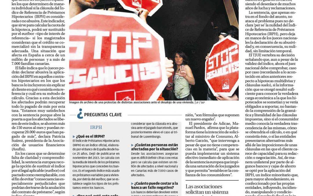 Los jueces podrán anular el IRPH de las hipotecas de más de 7000 canarios